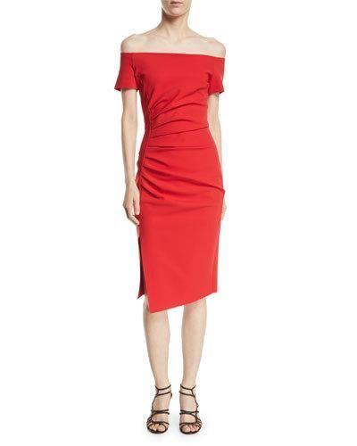 e74a87871be Chiara Boni La Petite Robe Devis Off-the-Shoulder Ruched Dress
