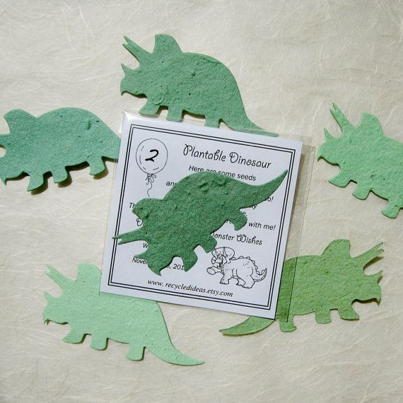 12 Dinosaurs Plantable Pots and Birthday Party by recycledideas.