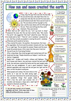 How sun and moon created the earth FREE worksheet: a lovely story for upper elementary and lower intermediate level. Comprehension exercises and key included.