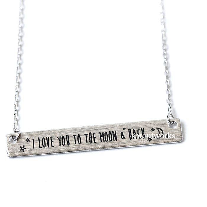 i love you necklace, to the moon and back, bar necklace, moon necklace, i love you, crest necklace, love necklace, mothersday gift by sproutworks on Etsy