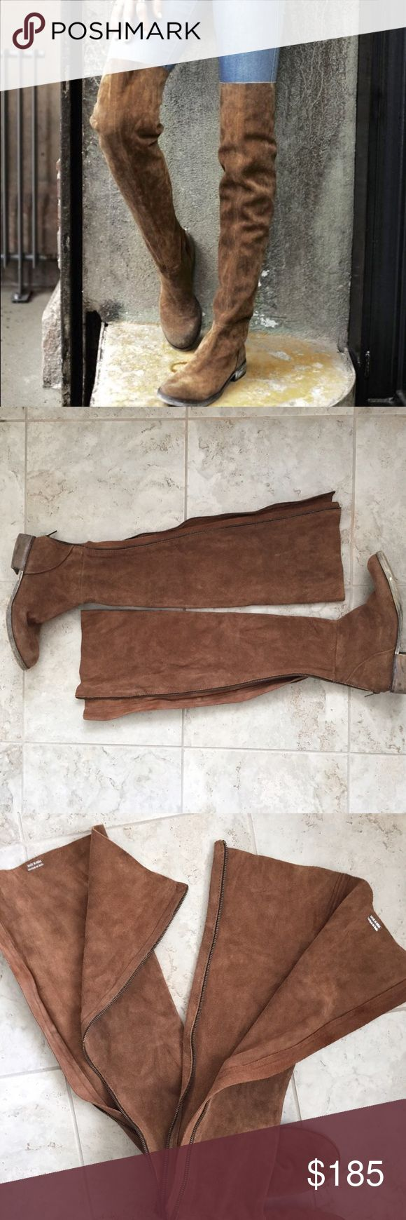 Free People Over the knee boot Full zip back, softest suede. They run on the small side. They are a size 39, equivalent to an 8. Great condition worn only a handful of times. Free People Shoes Over the Knee Boots