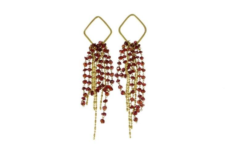 Sam Ubhi - Gold Coloured Earings with Garnet Tassles