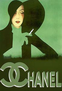 Classic Poster Haute Couture Deco Chanel Lady  Art Print