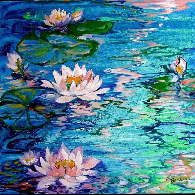water lily paintings | OIL PAINTING BY M BALDWIN DEPICTING ENCHANTING BLUE WATER, MISTY WATER …