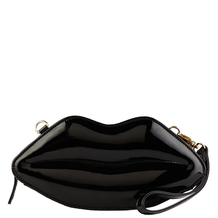 Patent leather lip clutch