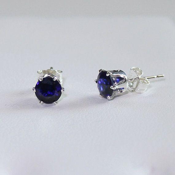 Blue Sapphire Earrings Sterling Silver / Silver Sapphire Earrings Stud on Etsy, $39.95