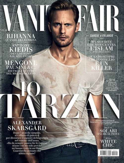 "VANITY FAIR Italy ""The Legend of Tarzan"" actor Alexander Skarsgard by Michael Schwartz x the June 22nd 2016 issue of Vanity Fair Italy"