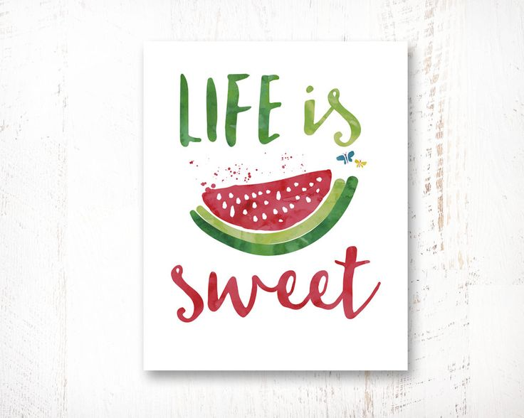 Life Is Sweet, Printable Wisdom Art Wall Poster, Kitchen Wall Art Quote, Kitchen Home Decor, Nursery Decor, Digital, Printable, 8x10 by WisdomWallArt on Etsy