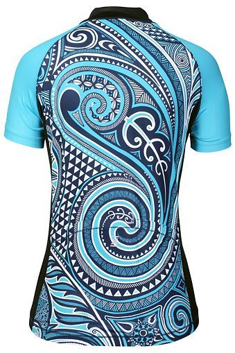 Women's Athletic Apparel: Blue Tribal Print Tri-Pocket Jersey for Women - Performance Cycling and Workout Apparel by YMX