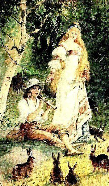 King's Hares. Jenny Nyström (1854 – 1946, Swedish)