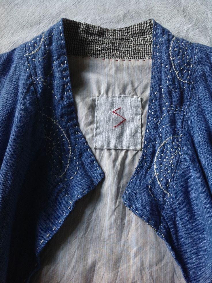 """Khampa"" indigo jacket.  Hand embroidery on linen, inspired by a 20th century Tibetan man's jacket / khampa."