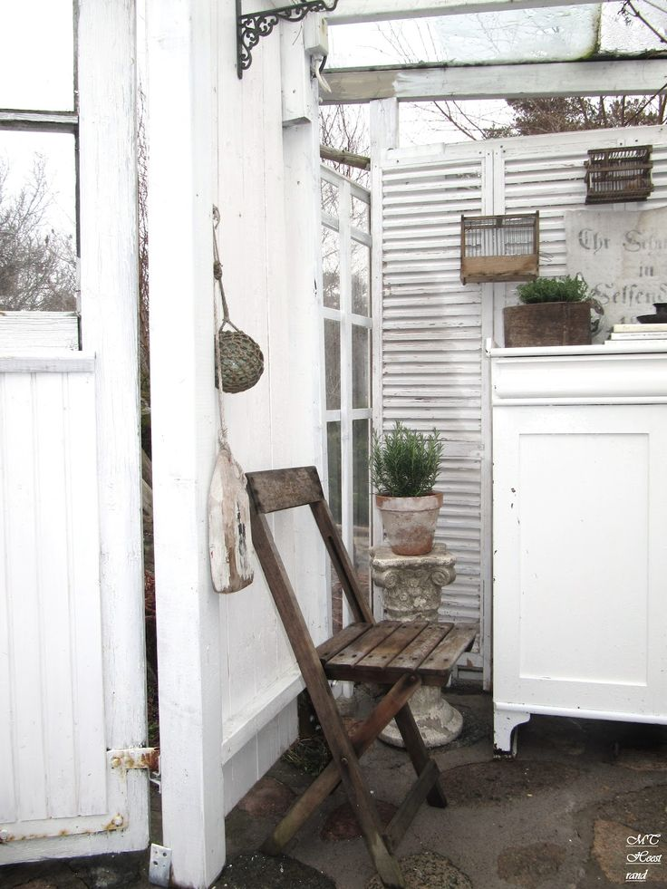 Outside Patio Garden Whitewashed Cottage Chippy Shabby Chic French Country  Rustic Swedish Decor Idea. ***Pinned By Oldattic***.