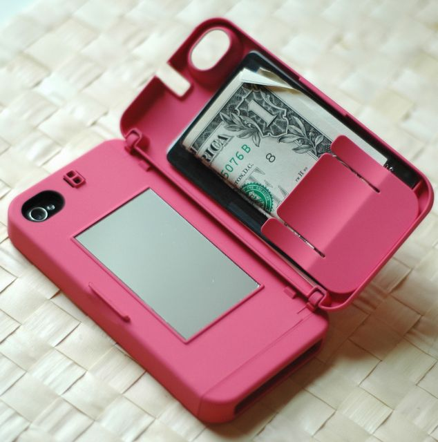 iphone case with a mirror and money holder. genius! i definitely need the mirror part..