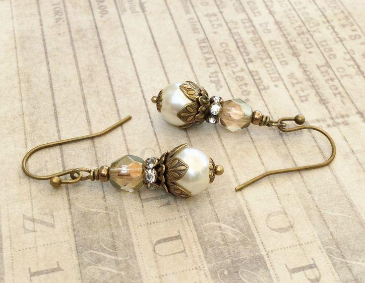 Ivory Earrings, Ivory Pearl Earrings, Pearl Earrings, Bridal Earrings, Czech Glass Beads, Beige Earrings,Victorian Earrings, Womens Earrings by SmockandStone on Etsy