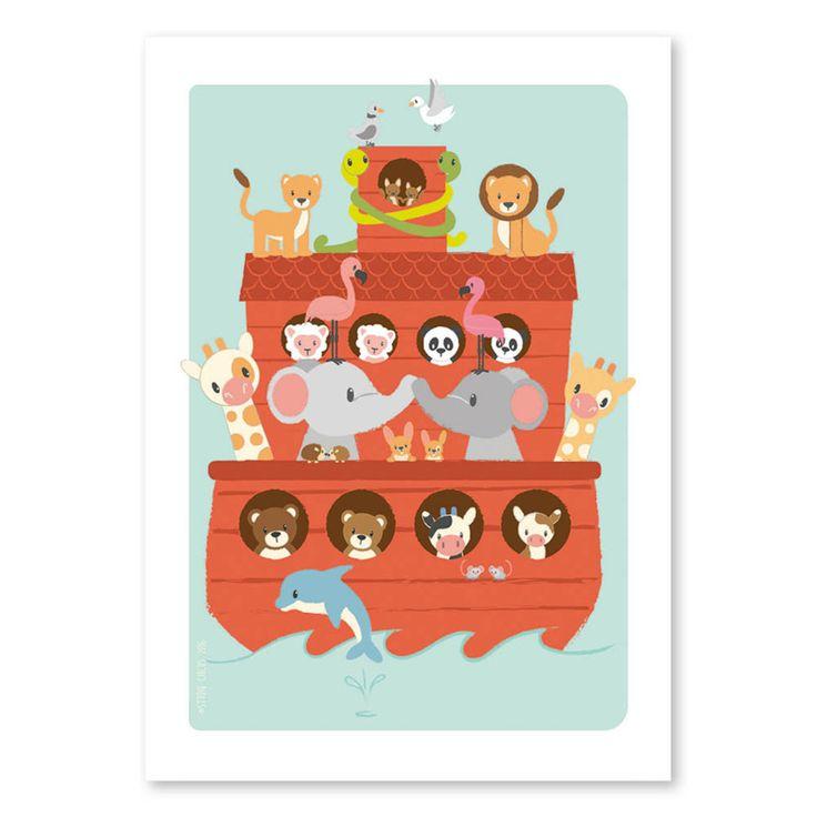 Ansichtkaart Ark van Noach Van alle dieren op de wereld nam dappere Noach er twee mee op zijn ark. Zóveel dat ze niet allemaal op deze mooie kaart passen. Maar welke dieren zie je wel? Ook verkrijgbaar als poster van 50x70 cm.  kinderkaart