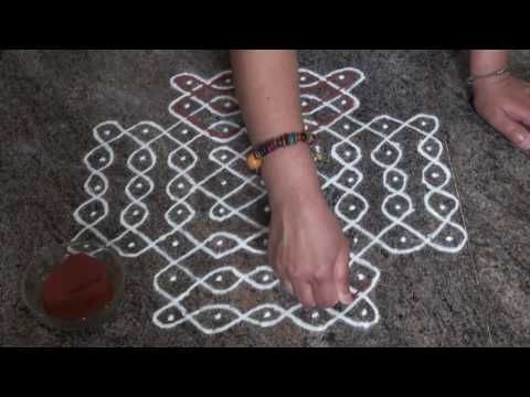 Daily rangoli/ melikala muggulu/ simple and easy sikku rangoli/9 dots kolam/ಬಳ್ಳಿ ರಂಗೋಲಿ - YouTube