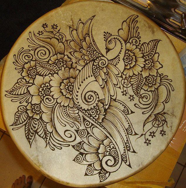 henna on hand drum - beautiful