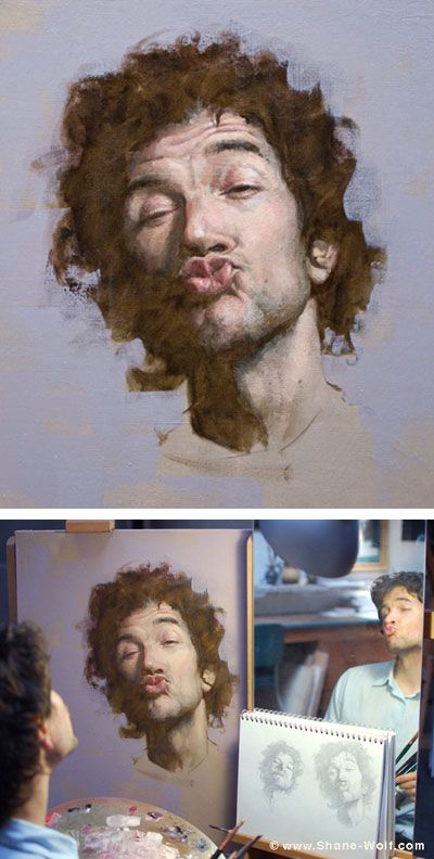"""""""Struck by Cupid"""" - Shane Shane Wolf (b. 1976), oil on canvas {male head self portrait man face painting detail} <3 KissKiss!!"""