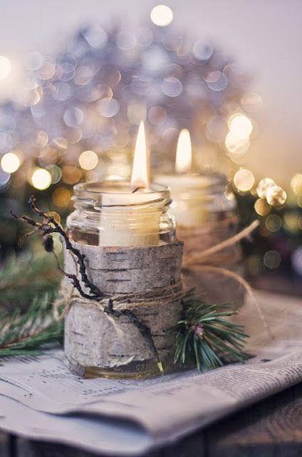 pot en verre + écorce => Noël ou Automne