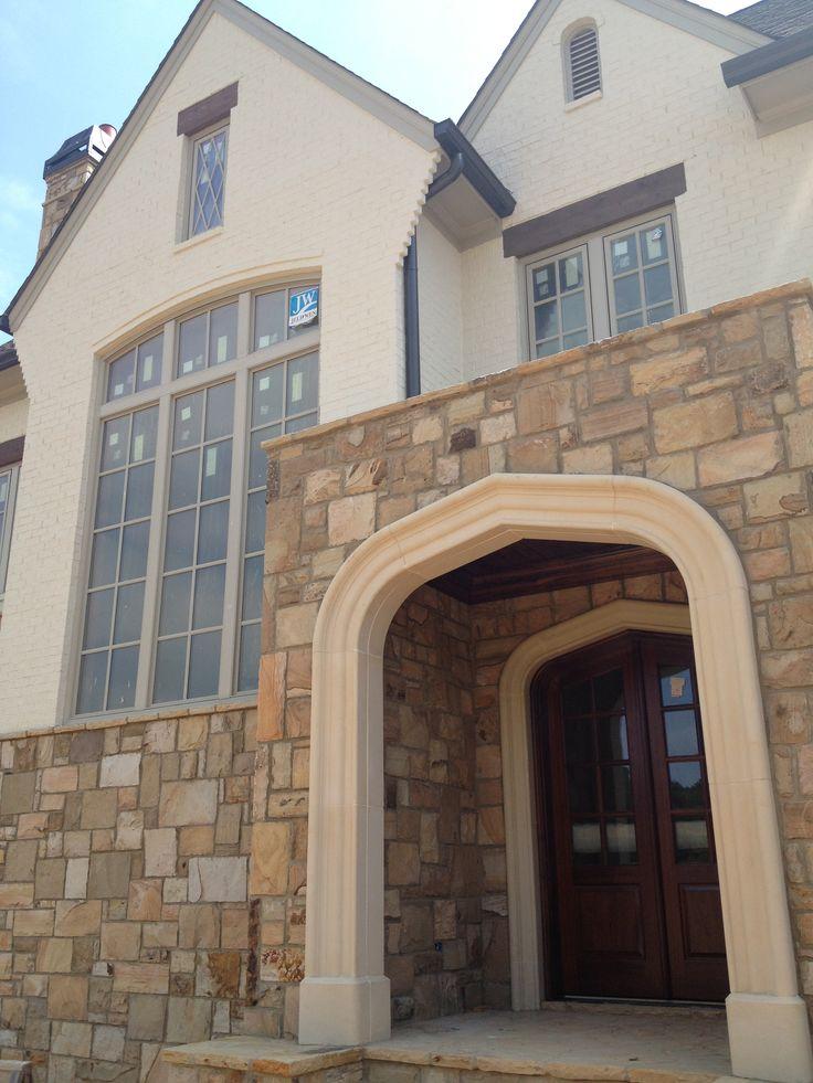 Stone With Painted Brick House Styles Brick Stone House