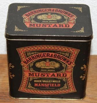 Oud Engels brocante blikje Barringer & Brown's Mustard.