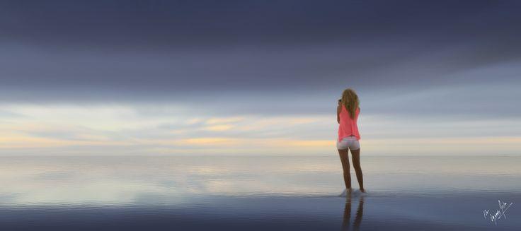 fotografiando el horizonte - Photographing the hor - Turista fotografiando el atardecer en las playas de Cancun