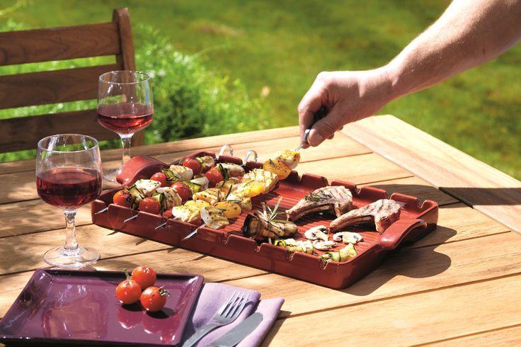 Kamień grillowy - czerwony - Emile Henry - DECO Salon #stone #grill #kitchenaccessories #bbq #giftidea