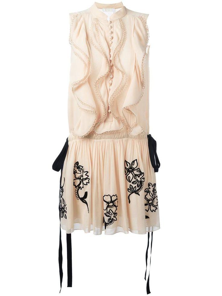 Chloé платье с оборками и вышивкой