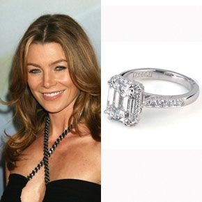 Ellen Pompeo wears a Tacori engagement ring from husband Chris Ivery. The ring is from the Dantela Collection and includes a 3-carat emerald cut center stone set on a diamond band.  Photo: Flynet Pictures