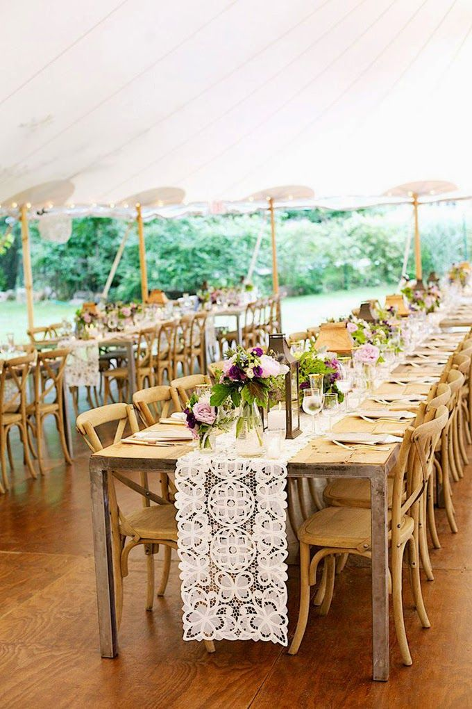 10 Country Chic and Rustic Wedding Tablescapes - Embroidered Lace and Doily Table Runners
