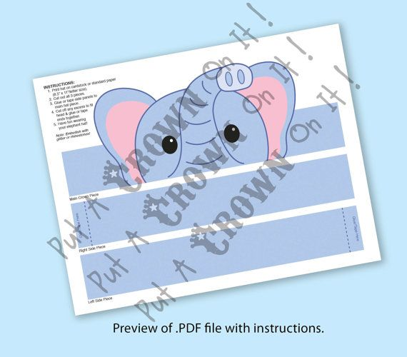 Elephant Paper Crown Printable by PutACrownOnIt on Etsy