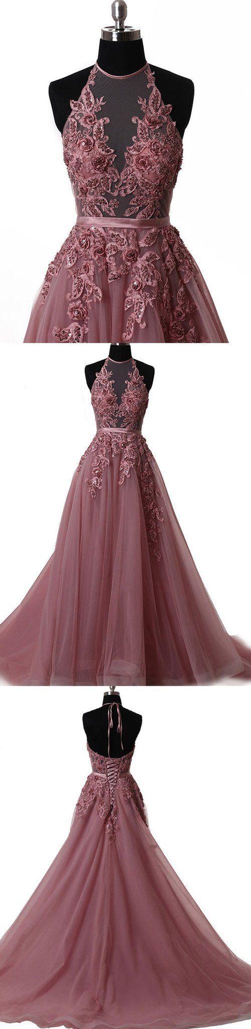 halter applique prom dress a-line tulle long evening dress,HS125  #moddress #promdresses #fashion #shopping #dresses #eveningdresses
