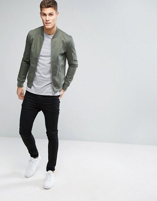 DESIGN muscle fit bomber jacket with sleeve zip in khakiHayden Riddle