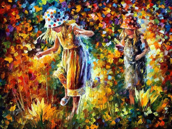 "Two Sisters — PALETTE KNIFE Figure Oil Painting On Canvas By Leonid Afremov - Size: 40"" x 30"" (100cm x 75cm)"
