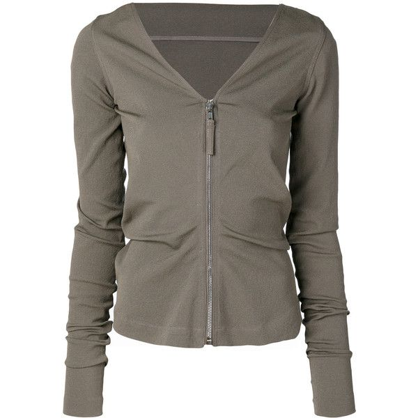 Rick Owens v-neck cardigan ($524) ❤ liked on Polyvore featuring tops, cardigans, grey, grey top, v-neck tops, zip front top, zip-front cardigan and v-neck cardigan