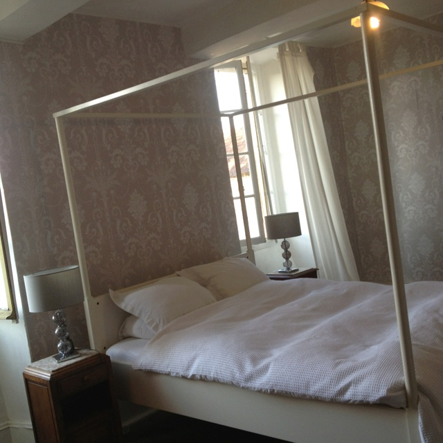 French bedroom with laura Ashley josette wallpaper, ikea edland bed and white company bedding