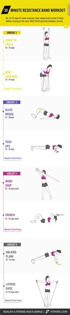 30-minute full-body resistance band workout to work your arms, legs and butt. #resistancebandexercises #bandexercises