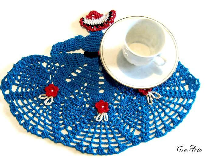 Blue crochet crinoline Lady doily