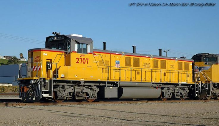 Union Pacific #2707  National Railway Equipment   3GS21B --------3 Cummings engine genset low-emissions diesel switcher.  2100 H.P..  Built in 2006.