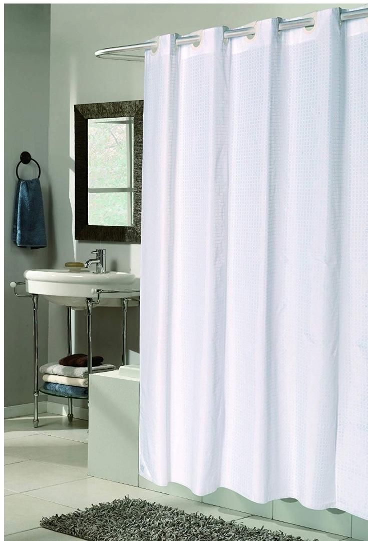 Splish Splash Easy On No Hooks Required By Artsy Casa White Check Extra Long Fabric Shower Curtain A Hookless Shower Curtain Fabric Shower Curtains Curtains