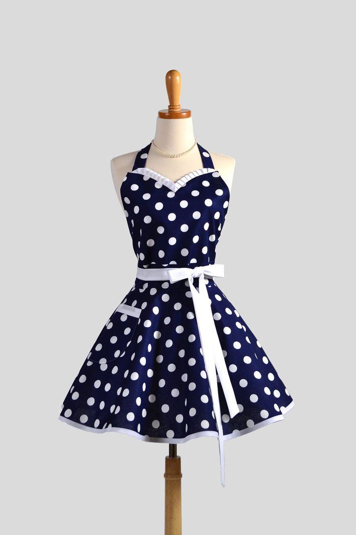 Sweetheart Retro Apron - Sexy Womens Apron Navy Blue and White Nautical Polka Dot Cute Full Kitchen Apron. $38.00, via Etsy.