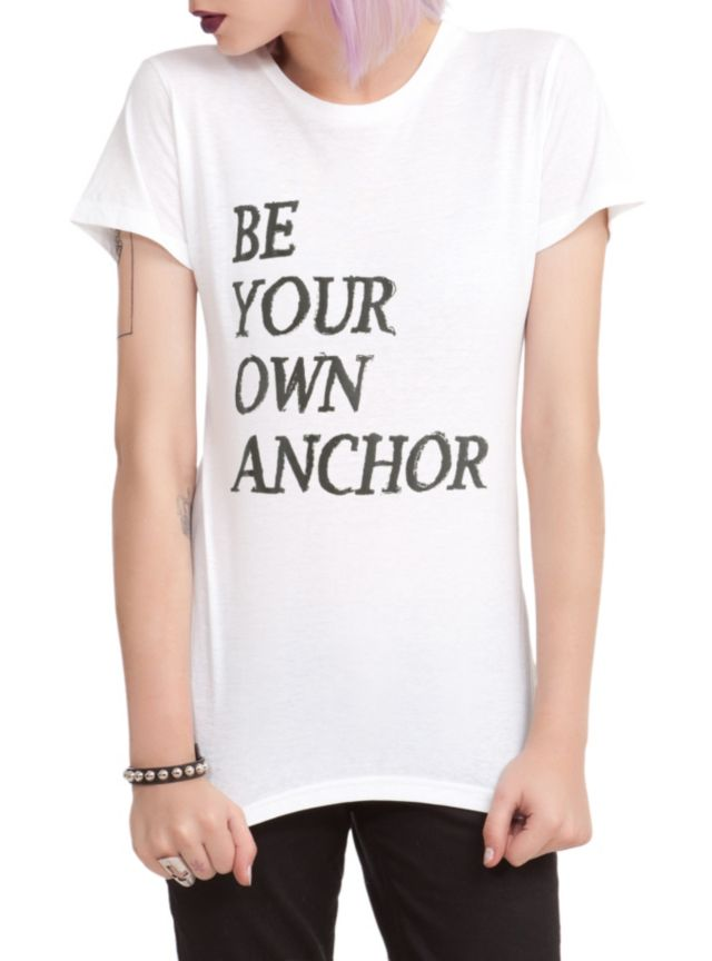 "Fitted white tee from Teen Wolf with text design that reads ""Be Your Own Anchor."""