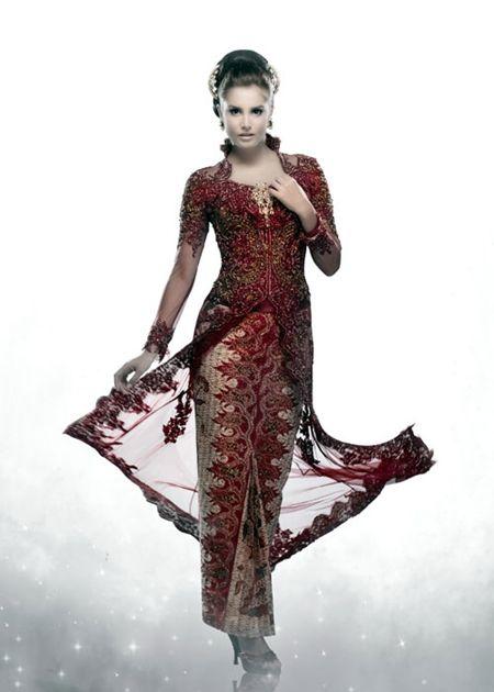 Model Kebaya Pengantin Inar Merah Maroon