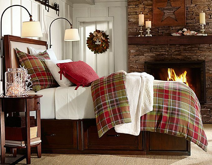 pottery barn christmas linens   Tahoe Plaid Duvet Cover & Sham Stratton Bed with Drawers Pick-Stitch ...