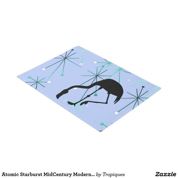 Atomic Starburst MidCentury Modern Flamingo Blue Doormat