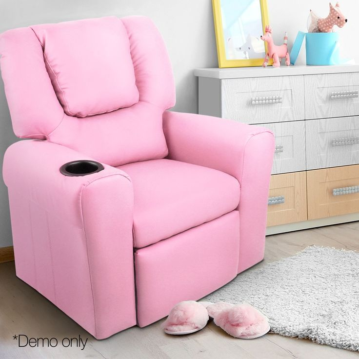 Artiss Kids Pu Leather Reclining Armchair Pink Leather