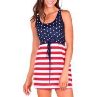 Sexy Sleeveless American Flag Pulling Rope Party Straight Dress. – Funky Fun Style