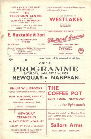 NEWQUAY  v  NANPEAN - SOUTH WESTERN LEAGUE - 31-01-1959