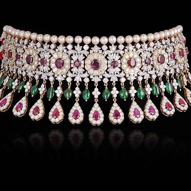 Burmese ruby, emerald and diamond choker