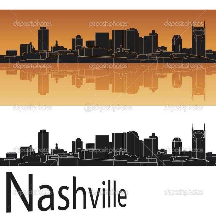Nashville Skyline Silhouette Nashville Skyline Stock